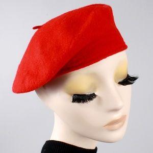 Vintage 60s Wool Felt Slouch Beret Hat Mod